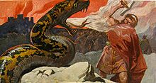 Thor and the Midgard Serpent (by Emil Doepler, 1905) (Wikipedia)