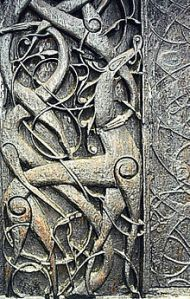 The north portal of the 11th-century Urnes stave church has been interpreted as containing depictions of snakes and dragons that represent Ragnarök.[1]