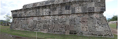 Temple of the Feathered Serpent at Xochicalco, adorned with a fully zoomorphic feathered Serpent. (Wikipedia)